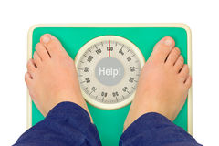 Woman feet and weight scale Help! Stock Image
