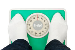 Woman feet and weight scale Help! Stock Photography