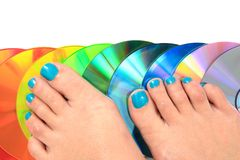 Woman feets and colors Royalty Free Stock Images