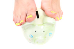 Woman feets and colors Stock Photography