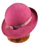 Woman felt magenta hat with wide brims stock image