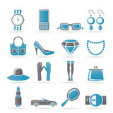 Woman and female Accessories icons Royalty Free Stock Photo