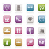 Woman and female Accessories icons Royalty Free Stock Photography