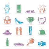 Woman and female Accessories icons Stock Photography