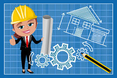 Woman Female Architect Thumb Up Blueprint. Illustration featuring smiling cartoon architect Meg with helmet and thumb up holding blueprint against technical Royalty Free Stock Photos