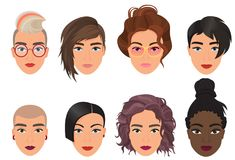 Woman female avatar set vector illustration. Modern multiethic beautiful young girls portrait with different fashion. Hair style Stock Images