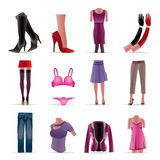 Woman and female clothes icons Royalty Free Stock Photography