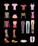 Woman and female clothes icons Royalty Free Stock Image
