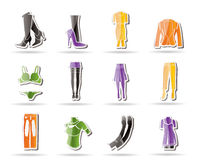 Woman and female clothes Simple icons Stock Images