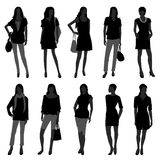 Woman Female Girl Fashion Shopping Model. A set of female silhouette in fashion style Royalty Free Stock Photos
