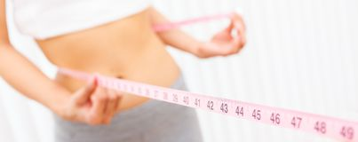 Woman Female Girl Measuring Waist With Tape Measure Panorama stock images