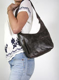 Woman  with female hand bag Royalty Free Stock Image