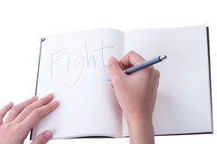 A woman(female) two hands hold a empty(blank) book(note, diary) Royalty Free Stock Photography
