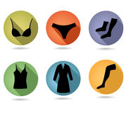 Woman female underwear flat icon set Royalty Free Stock Photo