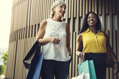 Woman Femininity Shopping Relax Concept. Woman Femininity Enjoy Shopping Relax Royalty Free Stock Photos