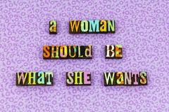 Woman feminism believe positive attitude letterpress. Typography feminist strength optimism thinking girl power female leader leadership intelligence beauty stock images