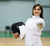Woman on fencing training Royalty Free Stock Image