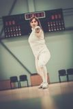 Woman on fencing training Royalty Free Stock Photo