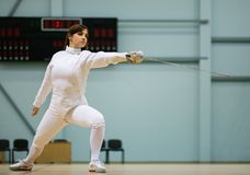 Woman on fencing training Royalty Free Stock Photos