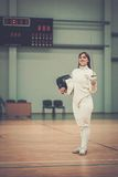 Woman on fencing training Royalty Free Stock Photography