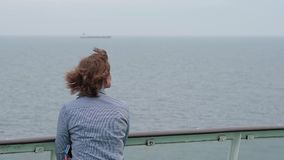 Woman on the ferry boat in Baltic sea stock video