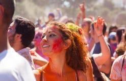 Woman at Festival of colours Holi Barcelona Stock Photo