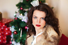 Woman in festive dress and fur Royalty Free Stock Photography