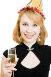 Woman in a festive hat with a glass of wine Royalty Free Stock Images