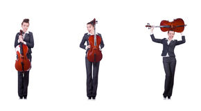 The woman fiddler isolated on white background Royalty Free Stock Photography
