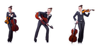 The woman fiddler isolated on white background Royalty Free Stock Photos