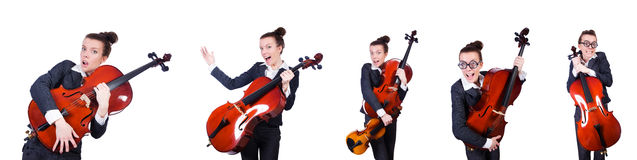 The woman fiddler isolated on white background Stock Images