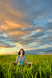 Woman on field Stock Photography