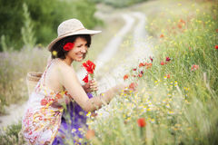 Woman in field Royalty Free Stock Photos