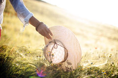 Woman in field Stock Images