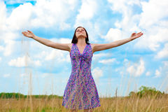 Woman on field Royalty Free Stock Photography