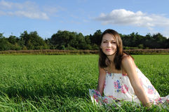 Woman in field Royalty Free Stock Image