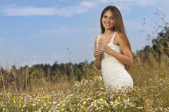 Woman at field Royalty Free Stock Images