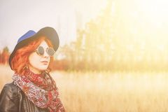Woman in the field stock photography