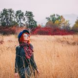 Woman at field autumn stock images