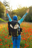 Woman in a field of blooming poppies, stretching hands to sky Stock Photos