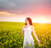 Woman in field with flowers at summer sunset. Stock Image