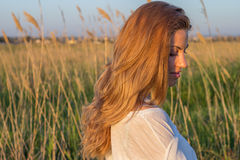 Woman field grass Royalty Free Stock Images