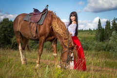 Woman in a field with a horse. Walk with a horse on nature Royalty Free Stock Image