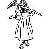 Woman on the field kids coloring page Royalty Free Stock Photography