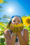 Woman on field in summer Royalty Free Stock Photography