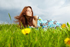Woman on field in summer Royalty Free Stock Photo