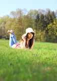 Woman on field in summer Stock Images