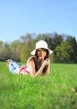 Woman on field in summer Stock Photos