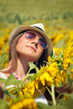 Woman in field with sunflowers Royalty Free Stock Image