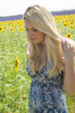 Woman in field sunflowers Royalty Free Stock Photos